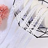 DAHI spitzenband 30M weiß Spitzenborte aus Baumwolle- Vintage Zierspitze Häkelspitze Dekoband Zierband Spitzenstoff für Nähen Handwerk Hochzeit Deko (weiß-5 roll)