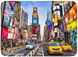 Felpudos Alfombras de baño Alfombrilla para exteriores e interiores Ciudad de Nueva York Diciembre Times está ocupado Intersección turística de neón y comercio Iconic Street America Diciembre Decoraci