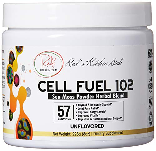 Cell Fuel 102: Organic Sea Moss / Irish Moss, Bladderwrack & Burdock Root Powder Herbal Blend - Dr. Sebi Inspired, Organic, 100% Natural, Thyroid & Immunity Support - (8oz)