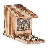 Relaxdays 10026312_972 Mangeoire pour écureuils, Distributeur Nourriture, à Installer, Bois, HLP: 17,5 x 12 x 25 cm, flammé, Plastique, Marron