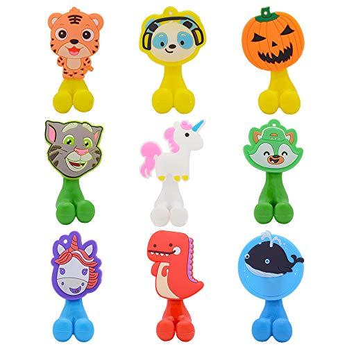 WhatUneed Zahnbürstenhalter für Kinder, niedliches Tier-Design, Wandmontage, Zahnbürstenhalter mit Saugnapf, 9 Stück