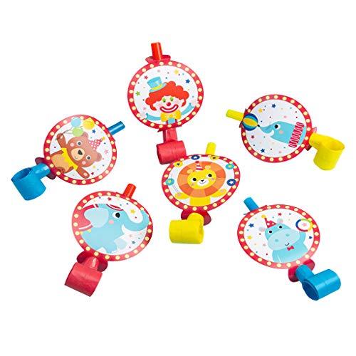 F Fityle 6 stücke Tiere Theme Birthday Party Supplies Pappbecher Strohplatte Gläser Blowouts Pfeifen für Kinder