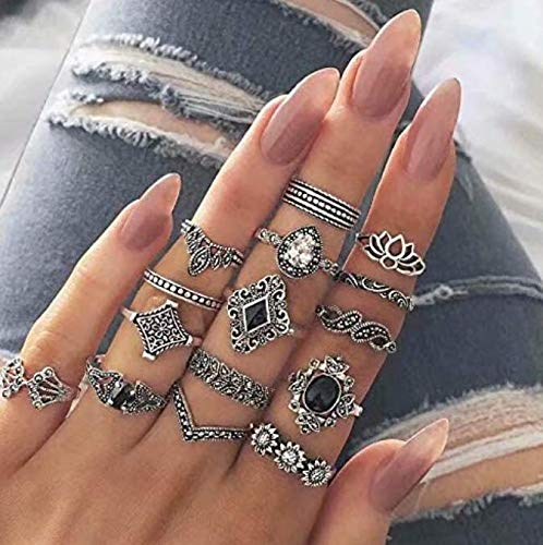 15 STÜCKE Böhmen Knuckle Ring Set für Frauen Hohl Silber Mode Midi Fingerringe Vintage Stapelbar Knuckle Midi Ringe Set Boho Vintage Fingerring Weibliche Böhmische Schmuck Geschenke