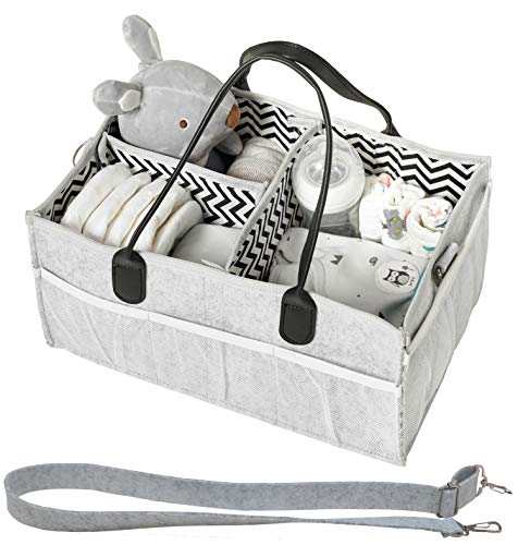 HOMEVAGE Diaper Caddy Caddies Organizer, Baby Cloth Diapering, Tote Bag, Nursery Storage Bin for Changing Table, Portable Car Travel Organizer (Light Grey)