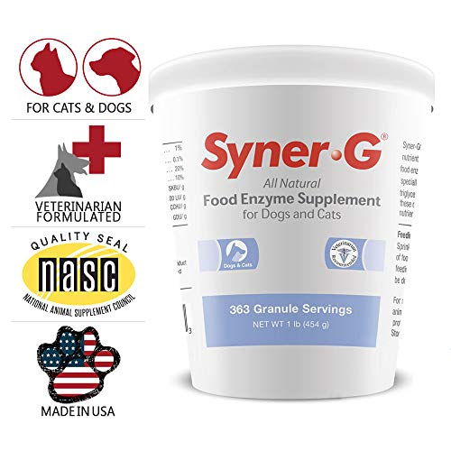 Price comparison product image PHS Syner-G Digestive Enzymes Supplement for Dogs and Cats - Enzymes Alpha-Amylase,  Lipase,  Cellulase,  and Protease - Digestion Support,  Absorption of Nutrients,  Skin Health - Made in USA - 454 grams