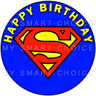 7.5 Inch Edible Cake Toppers – SUPERMAN CLASSIC LOGO Themed Birthday Party Collection of Edible Cake Decorations