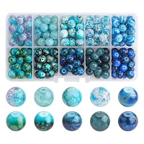 F Fityle Kit de Cuentas de Vidrio de 200 Piezas con Caja de Almacenamiento de 8 mm Hecho a Mano para Bricolaje Pulsera de Abalorios Suministros de Adorno de - Degradado Azul