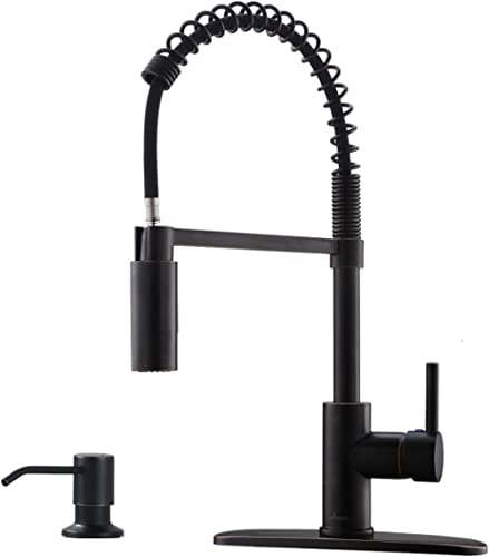 APPASO Commercial Pull Down Sprayer Kitchen Faucet with Soap Dispenser - Oil Rubbed Bronze High Arc Tall Modern Singl...