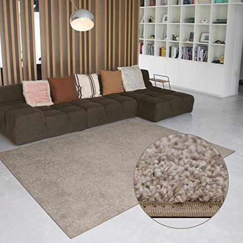 Carpet Studio Hoogpolig vloerkleed voor woon- & slaapkamer 160x230cm, Beige, Tapijt, Modern Design, Eenvoudig te reinigen, Handgemaakt