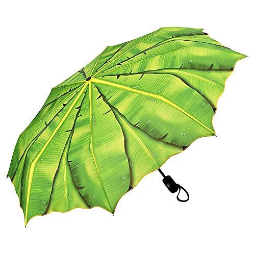 VON LILIENFELD Regenschirm Taschenschirm Stabil Leicht Auf-Zu-Automatik Grün Damen Herren Motiv Dschungel Wellenkante Bananenblatt