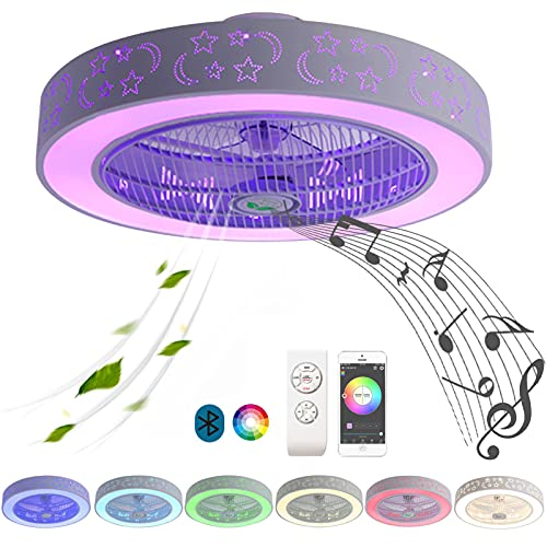 LED Lampara Ventilador Techo Infantil Bluetooth Altavoz Música RGB Potente Plafon Ventilador de Techo con Luz Incluida Mando a Distancia Ultra Silencioso Regulable Dormir Iluminación Sala Dormitorio