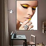 GJQFJBS Mode Fille Maquillage Peinture À l'huile Beauté Art Nordique Salon Décoration Murale Imprimé sur Toile A4 60x80 cm