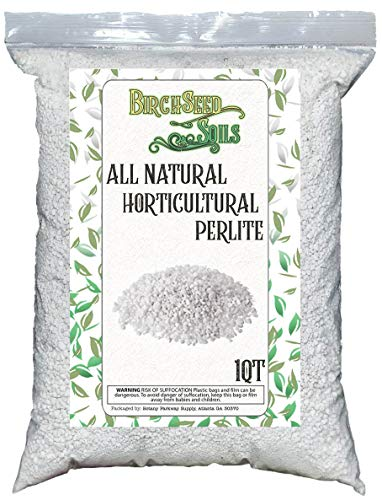 Horticultural Perlite 1 Quart Bag - All Natural Soil Additive for Indoor & Outdoor Plants, Improves Drainage, Aeration, and Growth
