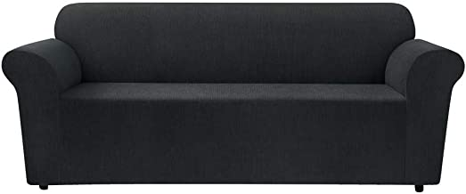 Sure Fit Stretch Chenille Sofa Slipcover, Black - 96% Polyester, 4% Spandex