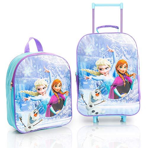 Disney Frozen 2 Kinderkoffer Mädchen Set, Trolley Kinder mit Anna und ELSA, Praktische 3er Set Rucksack und Trolley, Eiskonigin 2 Schule und Reisekoffer Kinder, Grosse Kapazität