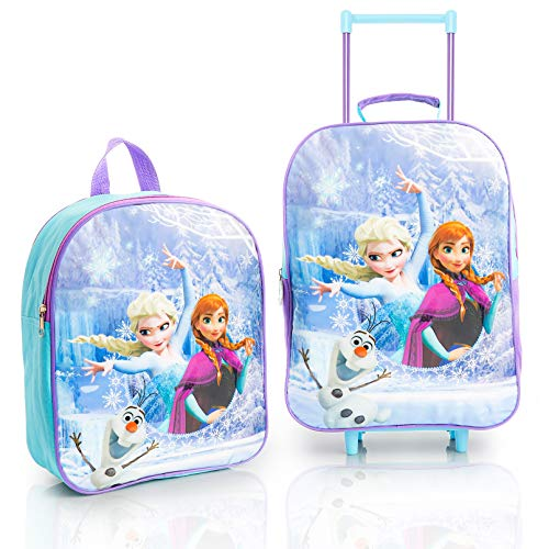 Disney Luggage Sets with Frozen 2 Princess Elsa Anna, Carry On Suitcase and Backpack 2 Piece Travel Set, Trolley Suitcases On Wheels for Girls, Holidays Gift Idea for Children of All Ages