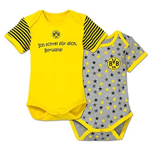 BVB Kinder Babybody Set 2 Stück, gelb/grau/schwarz, 62/68, 2466521