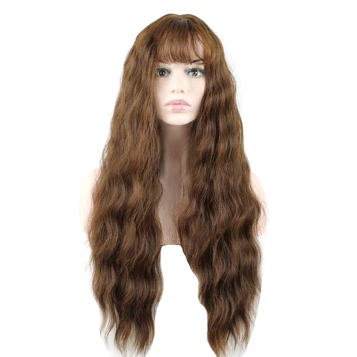 育成年齢枝かつら - 女性のロングロール高温シルクかつらファッションバングズパーティーロールプレイハロウィン60cmブラウン (色 : Brown, サイズ さいず : 60 cm 60 cm)