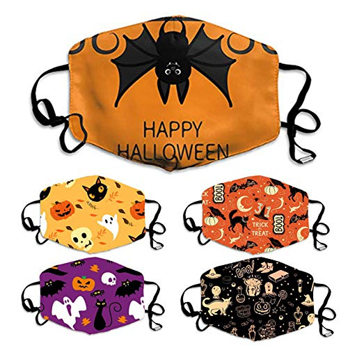 5PC Halloween Reusable Face Washable Breathable Daily Use With Adjustable Cord Lock for Kids