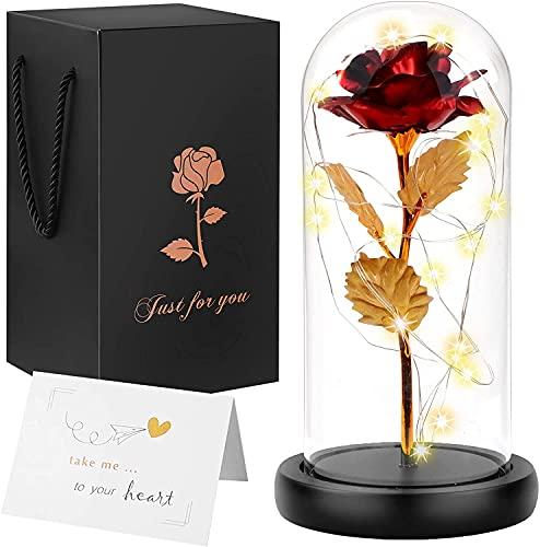 Rosa eterna bajo campana, rosa eterna con LED, caja de La Bella y la Bestia, el mejor regalo para la novia, mujer, madre, adaptada al día de la madre, fecha de cumpleaños, aniversario de boda