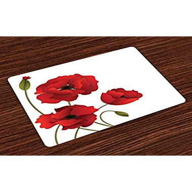 Ambesonne Floral Place Mats Set of 4, Poppy Flowers Vivid Petals with Buds Pastoral Purity Mother Earth Nature Design, Washable Fabric Placemats for Dining Room Kitchen Table Decor, Red Green