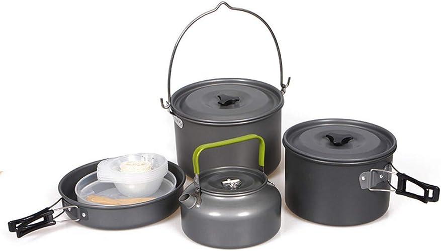 LHY voyage Ensemble De Pot De Camping 5-6 Personnes Combinaison De Pot De Pique-Nique en Plein Air RéChaud à Pique-Nique portable Adapté à La RandonnéE en Plein Air Barbecue, Pique-Nique, Etc.