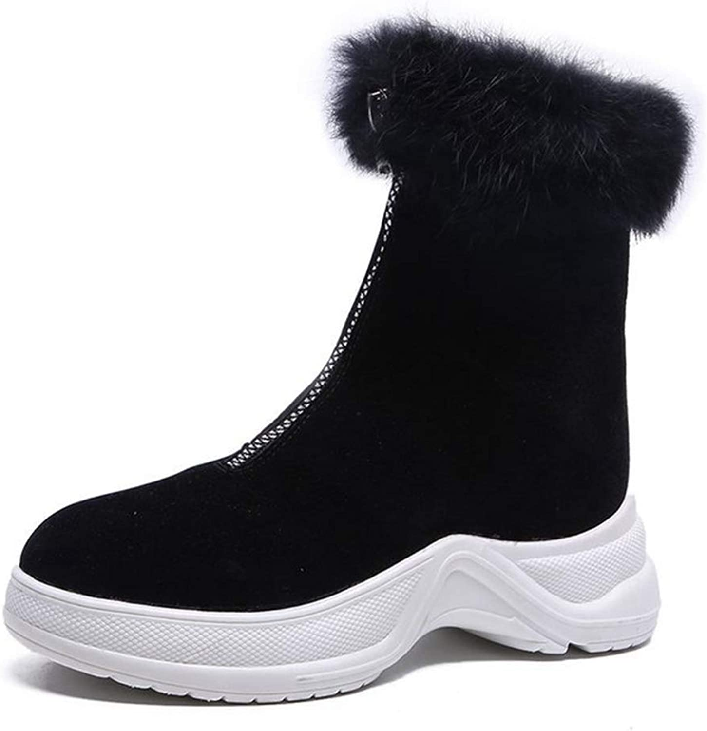 CYBLING Women's Winter Short Boots Round Toe Suede Low Heel Faux Fur Warm Ankle Snow Booties