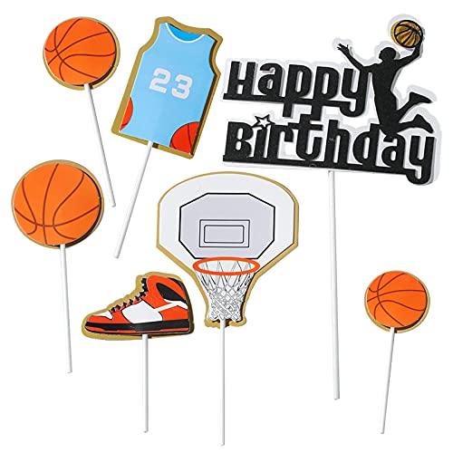 Fyfjur Tortendeko Geburtstag, Tortentopper, Kuchendeko, Fußball Topper, Kuchenstecker, Basketball Topper, Party Kindergeburtstag   Happy Birthday zum Geburtstag Cake Topper Geburtstag Party