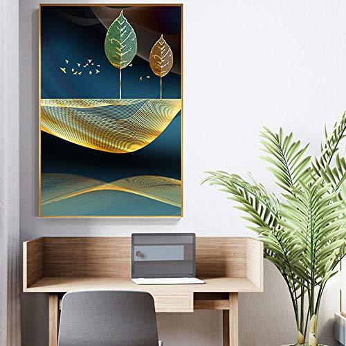 baodanla Kein Rahmen ng maschinentiefe, golden Leaf Oil ng, Druck Wohnzimmer, Flur Restaurant tapete50x70cm
