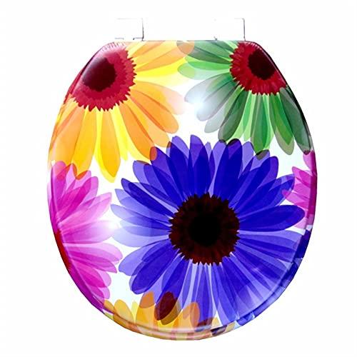 JINGGL Tapa De Inodoro Asiento de Inodoro Suave de Tapa de Inodoro 2021 Nuevo diseño Inodoro Caliente Asiento de Inodoro (Color : Chrysanthemum, Plug Type : EU Plug)