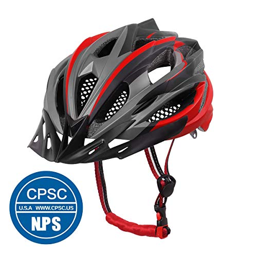 X-TIGER Bicicleta Casco Adulto Unisexo con Certificado CE,Visera y Forro Desmontable Especializado para Ciclismo de Montaña (Rojo)