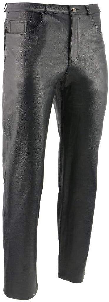 M-BOSS MOTORCYCLE APPAREL BOS15570 Men's Black Jean Style Leather Pants