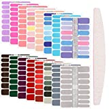 16 Sheets 256 Pieces Nail Polish Stickers Adhesive Full Nail Wraps Solid Color Nail Decals with Nail File for Women Girls DIY Nail Art, Assorted Colors