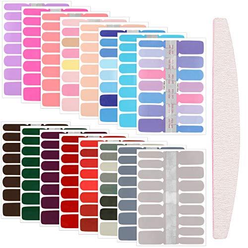 16 Fogli 256 Pezzi Adesivi per Smalto per Unghie Decalcomanie Adesive per Unghie in Tinta Unita con Lima per Unghie per Donna DIY Manicure, Colori Assortiti