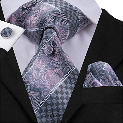 WOXHY Herren Krawatte Krawatte Herren Krawatten Seidengrau Floral Gestreifte Krawatte Mode Herren Anzug Krawatte Manschettenknöpfe Set Rosa Grau Krawatten 8,5 cm Breite Sn-3029