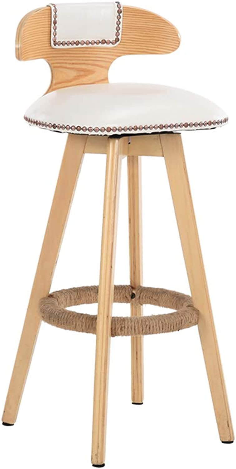 ZJ-Chair High Stool - Creative Vintage Solid Wood Bar Chair redating Front Chair Simple High Stool - Multi-color Optional (Size  50X80cm) && (color   C)