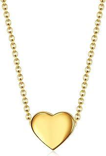 رايلايف 18 قيراط مطلية بالذهب الأولي الحب القلب قلادة سلسلة رابط قلادة قلادة للنساء الفتيات مجوهرات هدية 19.7 بوصة