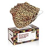50 Pcs Leopard Zebra Print Disposable Face Cover 3-Ply Filter Non Medical Breathable Earloop Face Masks (Leopard)