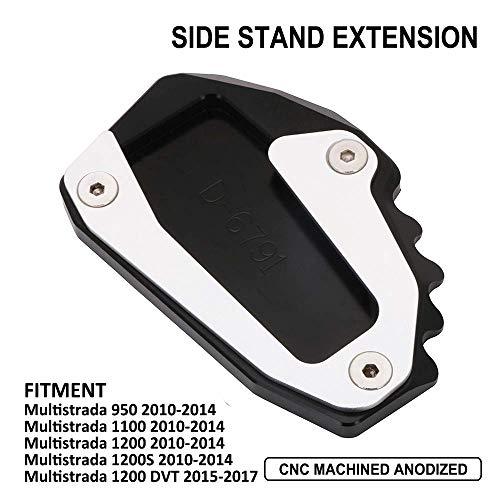 YSMOTO Moto Cavalletto Piedi Pastiglie CNC Stand Laterale Estensione Pad Piastra di Supporto Per Ducati Multistrada 950 1100 1200 1200 S 1200 DVT Nero