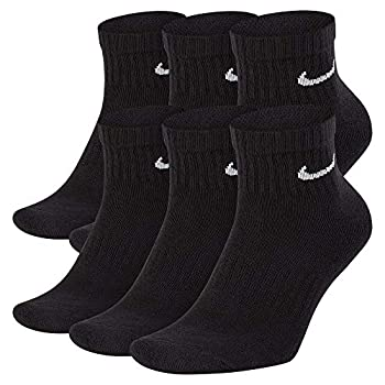 Nike Everyday Cushion Ankle Training Socks  6 Pair  Men s & Women s Ankle Socks with Sweat-Wicking Technology Black/White L