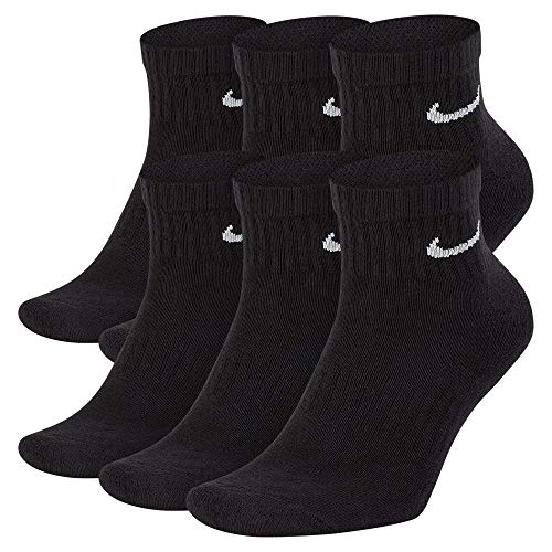 Nike Everyday Cushion Ankle Training Socks (6 Pair), Men's & Women's Ankle Socks with Sweat-Wicking Technology, Black/White, L