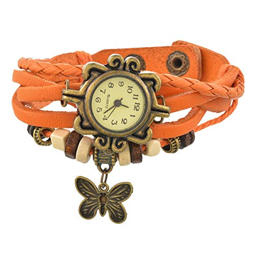 Souarts Red Artificial Leather Strap Bracelet Watch with Butterfly Ch