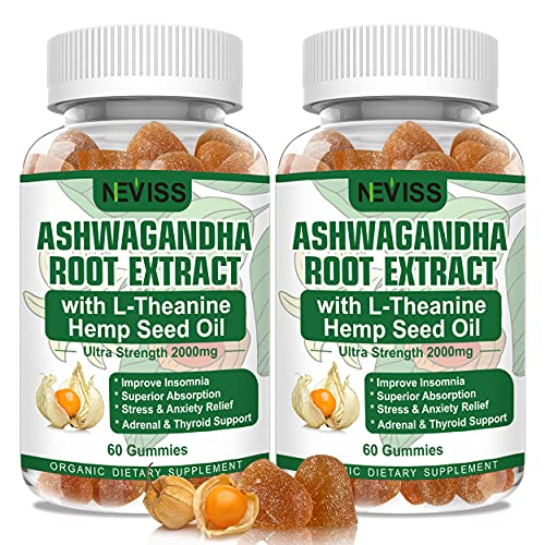 Ashwagandha Gummies, 2000mg Organic Ashwagandha Root Extract Supplement for Men & Women, 120 Count Ashwagandha for Stress & Anxiety Relief, Mood Calm, Relaxation, Adrenal & Immune Support (2pack)