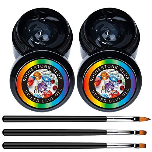 Nail Art 2 Jars of Rhinestone Glue Gel With 3 Brushes, Nail Crystal Rhinestone Tool Set for Nail Art Decoration