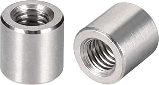 uxcell Round Connector Nuts, M6x10mm Height Sleeve Rod bar Stud Nut Stainless Steel 304, Pack of 5