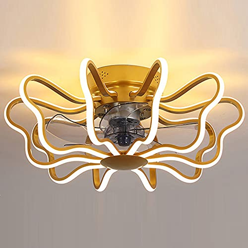 Luces LED de ventilador de techo creativo, moderno, color blanco, gris y dorado, regulable, para dormitorio, salón, estudio, habitación de niños, 160 W (dorado)