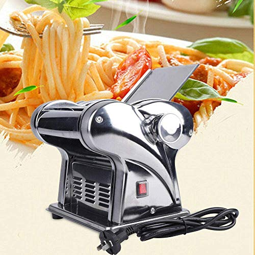 Electric Pasta Maker Machine Dumpling Dough Skin Noodle Making, Commercial Stainless Two-Knife Dough Roller Noodle Cutting Machine for Spaghetti Fettuccini Lasagna or Dumpling Skins