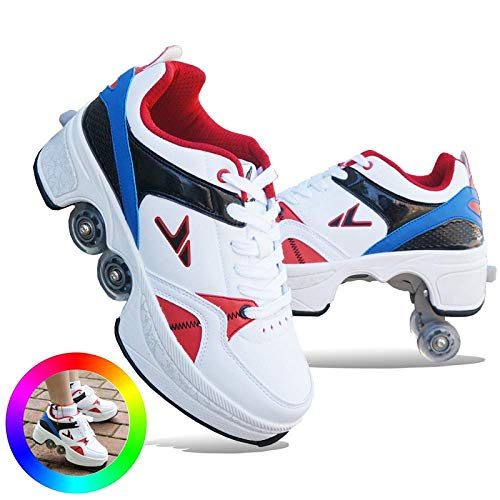 H&Y Inline-Skates Für Kinder Einstellbar, Inliner Und Schlittschuhe 2 In 1, 2-in-1-Mehrzweckschuhe Verstellbare Inline Skates Und Roller Skates, Für Jungen, Mädchen, Anfänger,Blue-36