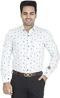 EL FIGO Men's Casual Full Sleeve Light SEA Green Floral Cotton Printed Slim FIT Shirt