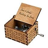"""Huntmic - Carillon in legno con melodia della canzone """"Can't Help Falling in Love"""", con incisione antica, scatola musicale per regalo di compleanno, giocattolo per bambini azionato a mano"""